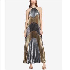 Metallic Color-blocked Pleated Gown